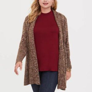 Torrid | Marled Cable knit Cardigan Brown